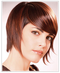 Model with short brown hair and bangs